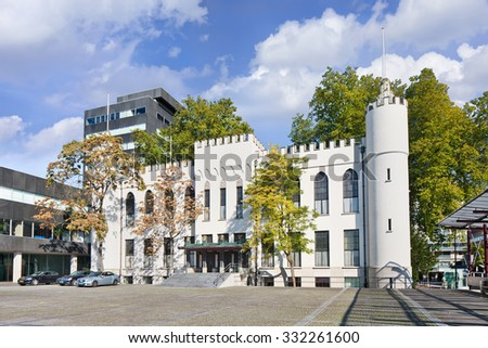 TILBURG-HOLLAND-OCT. 13, 2015. The City Hall of Tilburg, a former palace and a part of the present town hall of the municipality of Tilburg. The palace was built by King William II of the Netherlands - stock photo