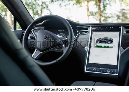 TILBURG, NETHERLANDS   SEPTEMBER 25, 2016: TESLA CAR  Interior Of Tesla  Model