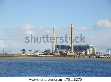 TILBURY, ESSEX, UK - FEB 4, 2014: Tilbury Power Station was decommissioned in 2013 under the EU Large Combustion Plant Directive. - stock photo