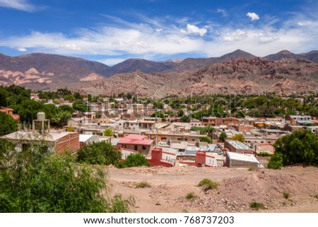 Tilcara city and quebrada mountains landscape, Jujuy, Argentina