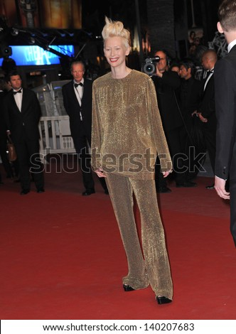 "Tilda Swinton at gala premiere at the 66th Festival de Cannes for her movie ""Only Lovers Left Alive"". May 25, 2013  Cannes, France"