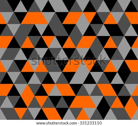 Tile background with orange, black and grey triangle geometric mosaic
