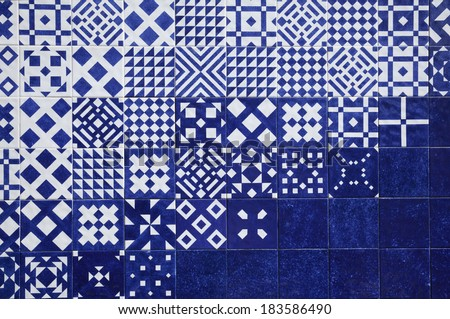 tile blue background - stock photo