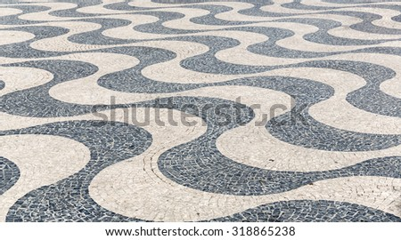 Tile brick floor in Lisbon Town Square, Portugal using as background