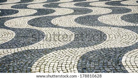 Tile floor in Lisbon, Portugal - stock photo