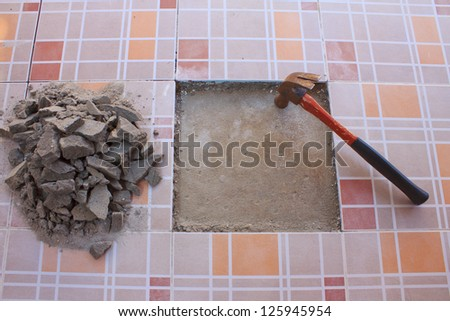 Tile flooring is a construction equipment. - stock photo