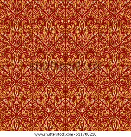 Tile Floral Ornament, Background with Vintage Abstract Seamless Pattern, Gold on Red.