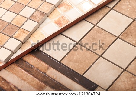 Tile, marble squares of different shapes and sizes - stock photo