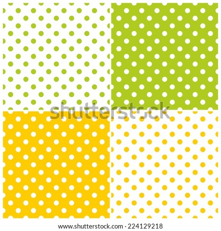 Tile pattern set with polka dots on white, green and yellow background - stock photo