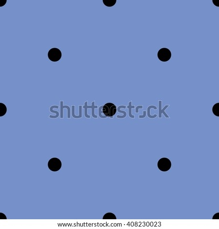 Tile pattern with black polka dots on pastel blue background