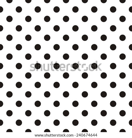Tile pattern with black polka dots on white background - stock photo