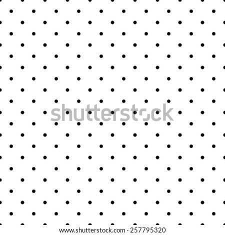 Tile pattern with small black polka dots on white background - stock photo