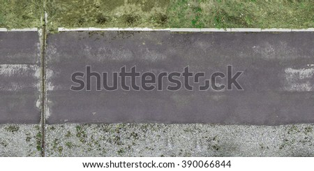 tile road texture asphalt, curbs and curbs of gravel and earth - stock photo