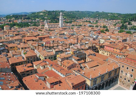 Tile roofs and Cathedral. Verona, Italy - stock photo