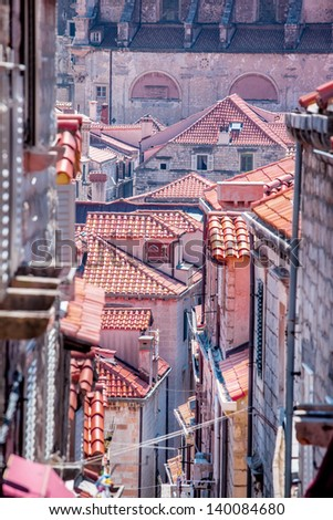 Tile roofs of stone houses in Dubrovnik old city, Croatia