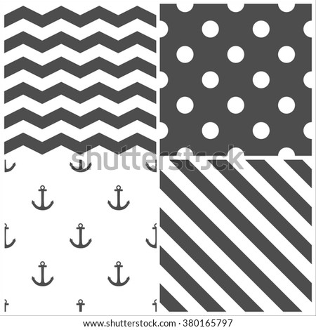 Tile sailor pattern set with grey polka dots, zig zag and stripes on white background