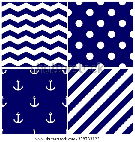 Tile sailor pattern set with white anchor, polka dots, zig zag and stripes on navy blue background