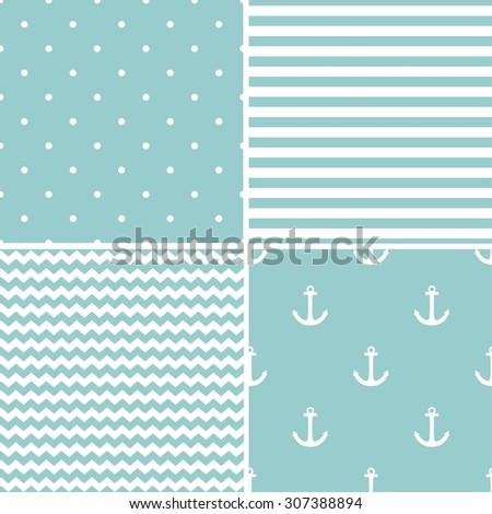 Tile sailor pattern set with white polka dots, zig zag and stripes on blue background