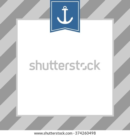 Tile sailor pattern with anchor on white and grey stripes background