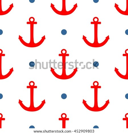 Tile sailor pattern with blue polka dots and red anchor on white background