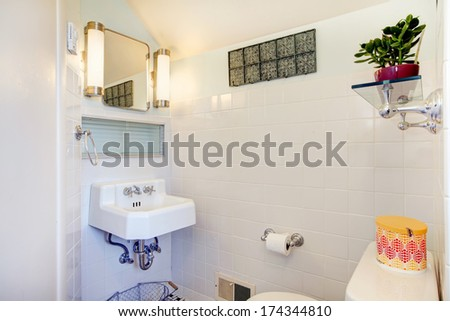 Tile wall bright bathroom with mirror, rustic hanger and glass shelf with flower pot