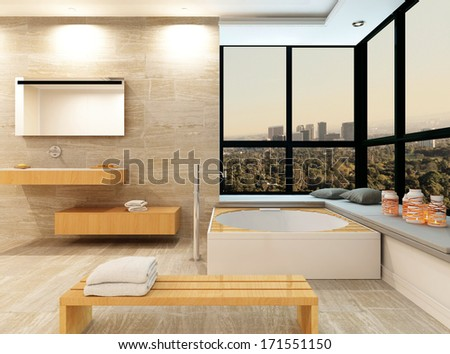 Tiled bathroom interior with fantastic jacuzzi - stock photo