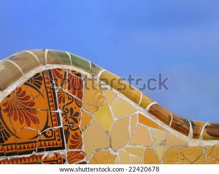 Tiled Bench in Parc Guell, Barcelona - stock photo