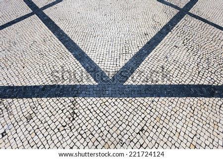 tiled floor in portuguese traditional style - stock photo