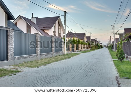 country houses modern country house large lawn wooden stock photo 508734754