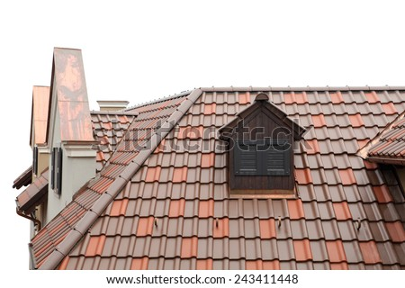 tiled roof of old-fashioned house isolated on white - stock photo