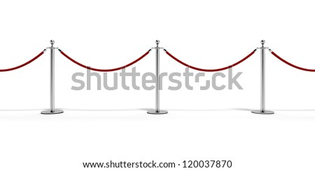 Tiled  stand barriers  isolated on white background