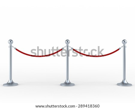 Tiled stand barriers isolated on white background - stock photo