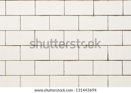 tiled wall texture background in white - stock photo