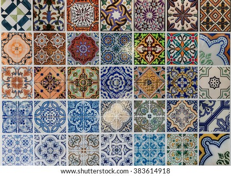Tiles ceramic patterns from Lisbon, Portugal. - stock photo