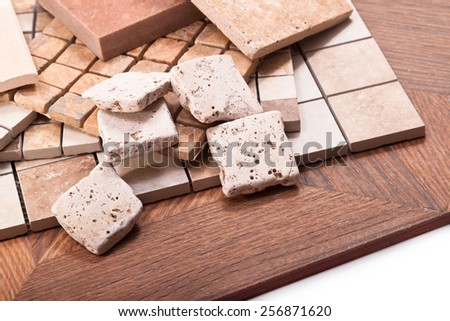 Tiles made of stone, ceramics for floor and wall coverings - stock photo