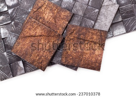 Tiles made under the old on a white background - stock photo