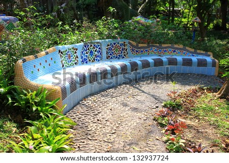 tiles mosaic  bench modernism - stock photo