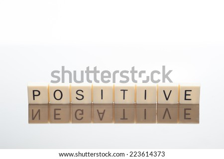 Tiles of letters spell positive but their reflection spells negative