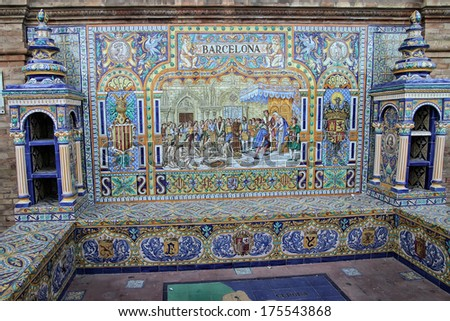 Tiles painted by hand on the wall of Plaza de Espanya, Seville, Spain - stock photo
