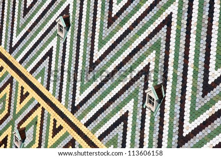 Tiles Roof of Stephansdom Cathedral in Vienna, Austria - stock photo