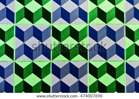 tiles with cubes pattern blue and green