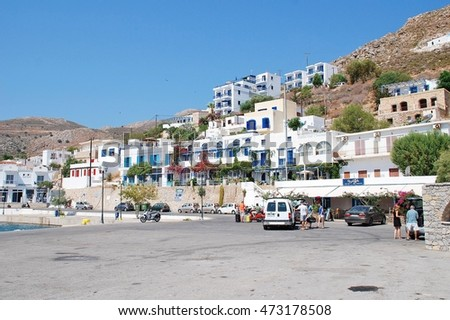 TILOS, GREECE - JULY 19, 2016: The harbour front at Livadia on the Greek island of Tilos. Some 14.5km long the Dodecanese island has a population of around 800 people.