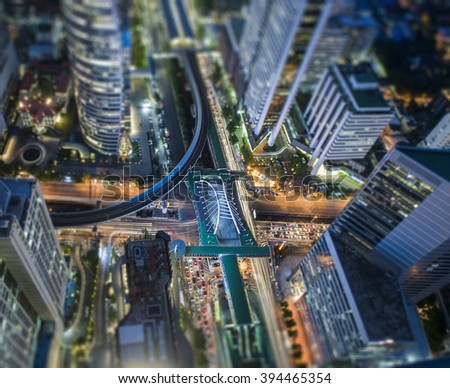 Tilt-shift effect of Central Business district, CBD of Bangkok on Sathorn road - stock photo