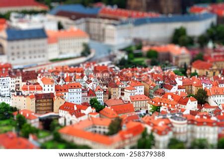 Tilt-shift miniature effect of the European City, Prague, Czech Republic - stock photo