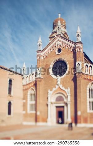 Tilt shift photo of view of Santa Maria d`Oro in Venice. - stock photo