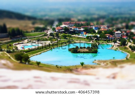 Tilt-shift view of mineral pool in Pamukkale, Turkey - stock photo