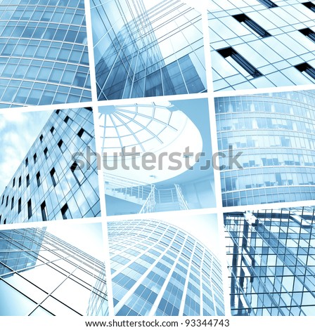 tilt view to contemporary collage of blue glass skyscrapers - stock photo