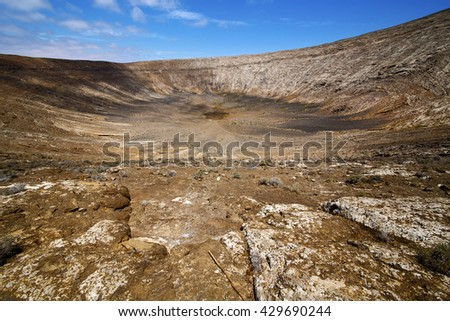 timanfaya  in los volcanes volcanic rock stone sky  hill and summer  lanzarote spain plant flower bush - stock photo