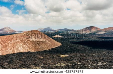 Timanfaya National Park in Lanzarote, Canary island  - stock photo