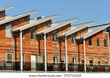 Timber Apartments on a Typical English Residential Estate - stock photo
